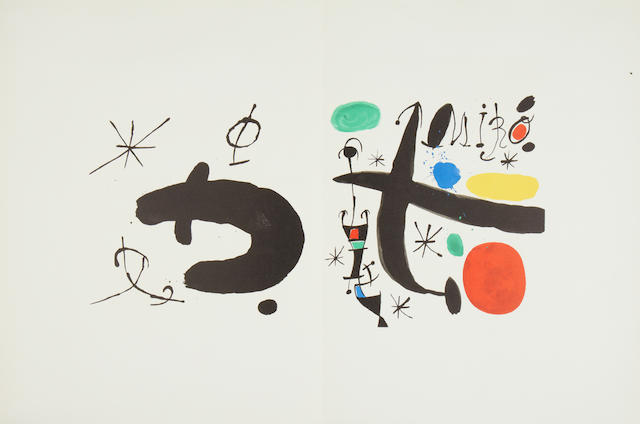 Joan Miró (Spanish, 1893-1983) Les Essències de la terra The complete portfolio, 1968, comprising nine lithographs some printed in colours, on Guarro wove, with title page, text, and justification, signed in pencil on the justification, this copy number 451 from the edition of 1000, published by Ediciones Poligrafa S.A., Barcelona, loose as issued, within lithographed paper wrappers in the original linen covered portfolio box, 532 x 413mm (21 x 16 1/4in)(folio)