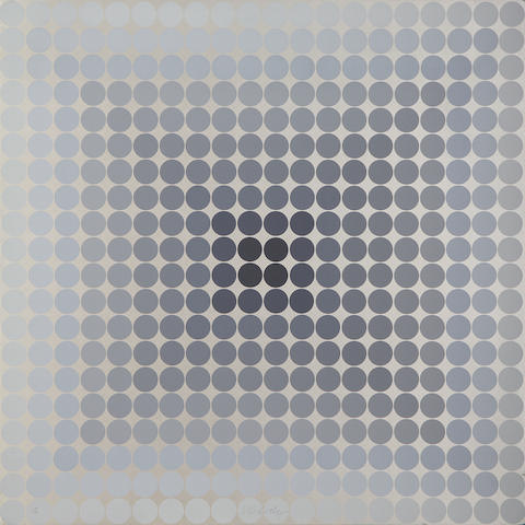 Victor Vasarely (Hungarian, 1906-1997) Two plates (Gold & Silver) from CTA 102 Two screenprints on cardboard, 1966, each signed and numbered 100/150 in ball point pen, the full sheet printed to the edges, 700 x 700mm (27 1/2 x 27 1/2in)(SH)(2)