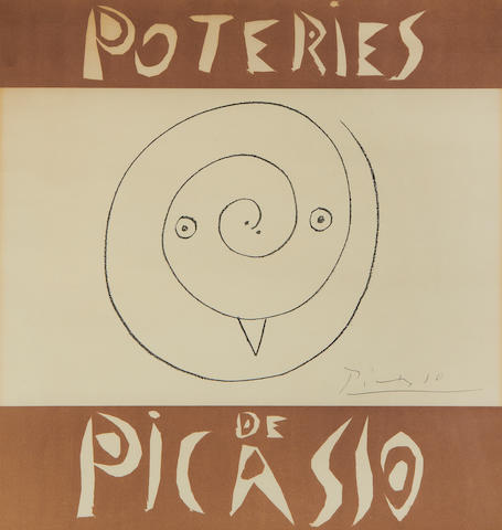 Pablo Picasso (Spanish, 1881-1973) Poteries de Picasso Lithographic poster in colours, 1948, on wove, watermarked Mourlot, signed in pencil, from the edition of 750, printed by Mourlot, Paris, the full sheet, 605 x 400mm (23 3/4 x 15 3/4in)(SH)