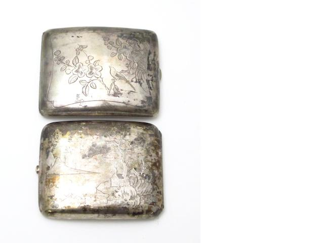 Two silver cigarette cases Early 20th century