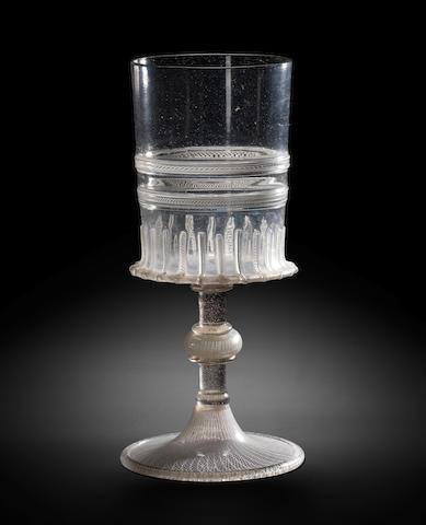 A Venetian or façon de Venise latticinio goblet, mid 16th century