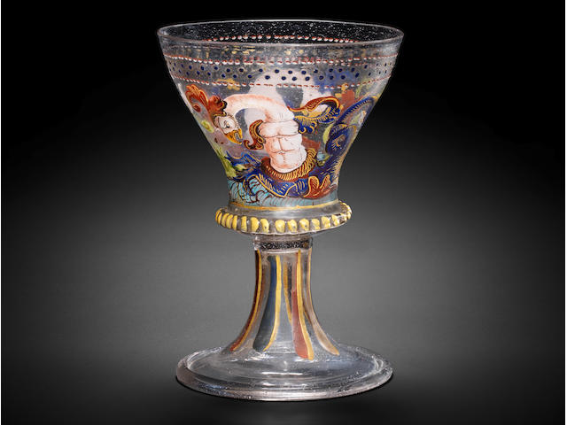 An early Venetian enamelled and gilt goblet, circa 1500