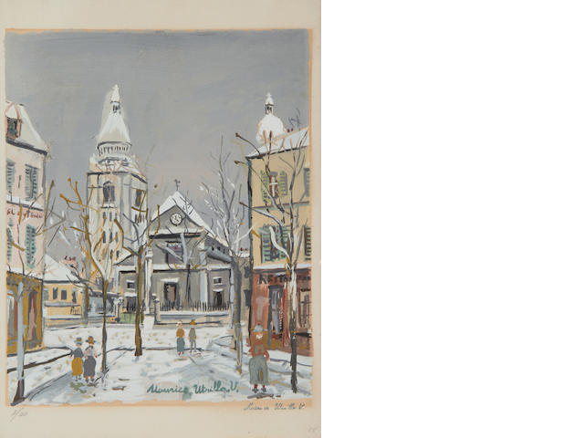 Maurice Utrillo (French, 1883-1955) L'Eglise St Pierre Colour pochoir, on wove stamp signed and numbered 3/20 in pencil, 320 x 260mm (12 1/2 x 10 1/4in)(I)(unframed)