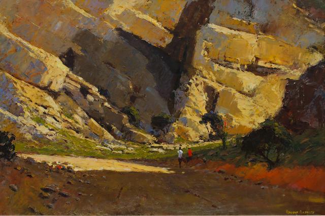 Adriaan Hendrik Boshoff (South African, 1935-2007) Figures in a rocky landscape