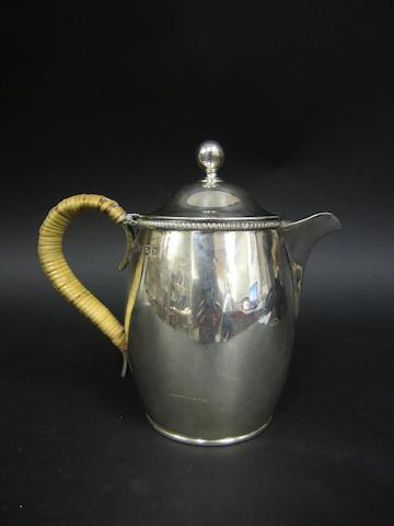 A silver hot water pot by Ellis Jacob Greenberg, Birmingham 1923
