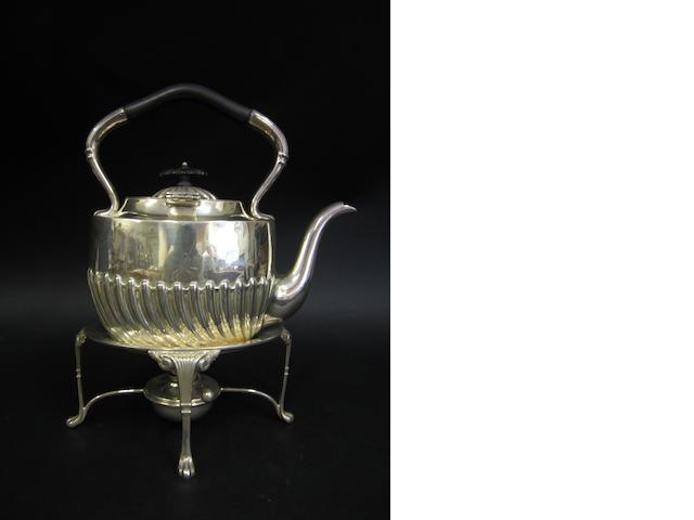 An Edwardian silver kettle and stand Sheffield 1903
