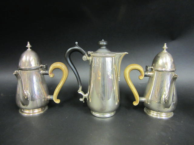 An Edwardian pair of silver chocolate pots London 1904  (3)