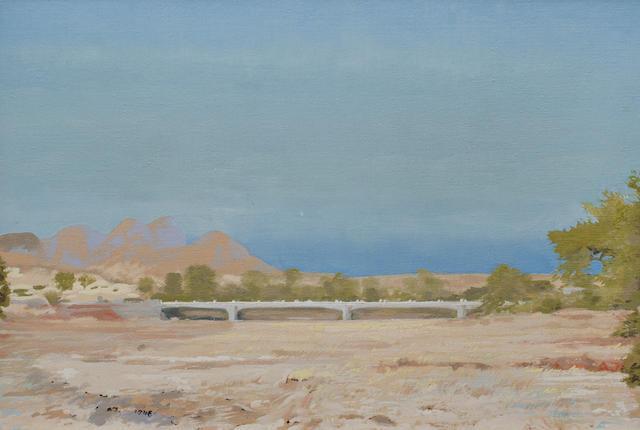 Adolph Stephan Friedrich Jentsch (German, 1888-1977) A river bridge, oil
