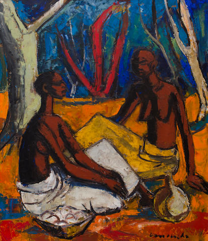Maurice Charles Louis van Essche (South African, 1906-1977) Two Congolese women seated in a forest