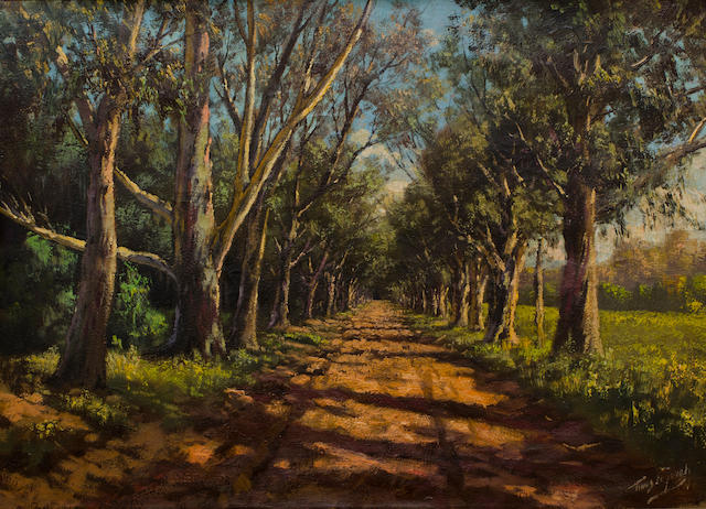 Marthinus (Tinus) Johannes de Jongh (South African, 1885-1942) An avenue of trees