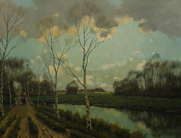 Marthinus (Tinus) Johannes de Jongh (South African, 1885-1942) Woman walking on a dutch Canal path