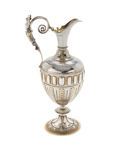 An impressive Victorian parcel-gilt  silver ewer by John Samuel Hunt, London 1864