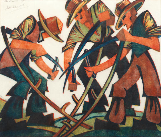 Sybil Andrews, CPE (British/Canadian, 1898-1993) Mowers Linocut printed in raw sienna, red, viridian and Chinese blue, 1937, on buff oriental laid tissue, signed, titled and numbered 11/60 in pencil, with margins, 292 x 352mm (11 1/2 x 13 3/4in)(B)