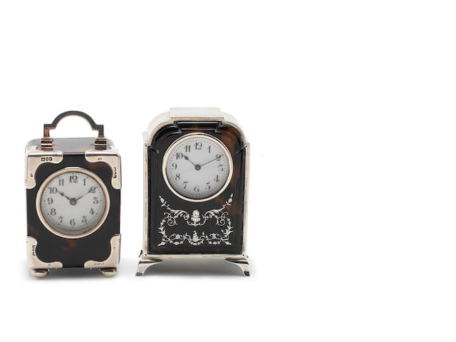 Two silver mounted tortoiseshell and pique-work timepieces (2)