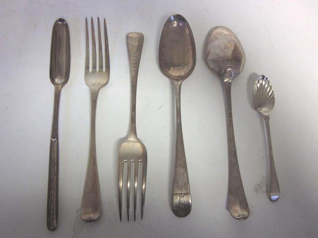 A small quantity of George III/IV silver flatware  various dates and makers  (29)