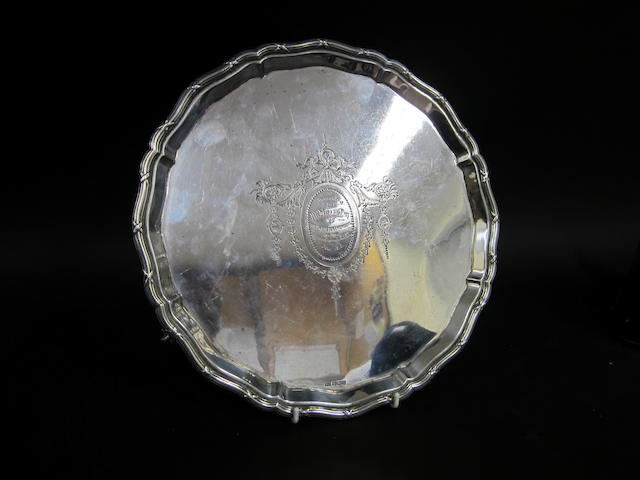 A silver salver Mappin and Webb, Sheffield 1912