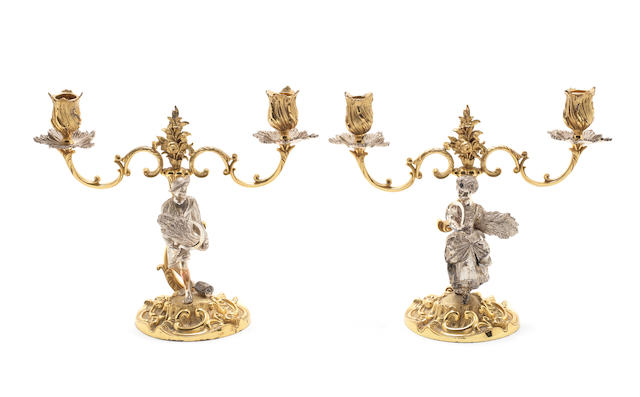 A PR OF 20TH CENTURY GARRARDS SILVER/GILT 2 ARM CANDLESTICKS