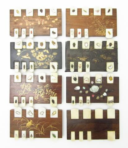 Seven shibayama games counters and another 19th century