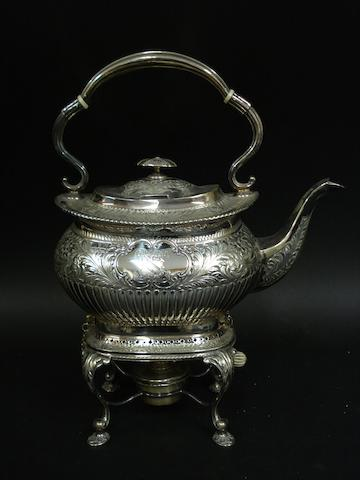 A Victorian silver spirit kettle on stand by Atkin Bros., Sheffield 1903