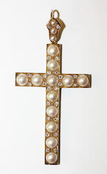 A 19th century pearl and diamond cross pendant