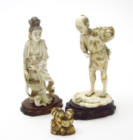 Two figural okimono and a netsuke Meiji