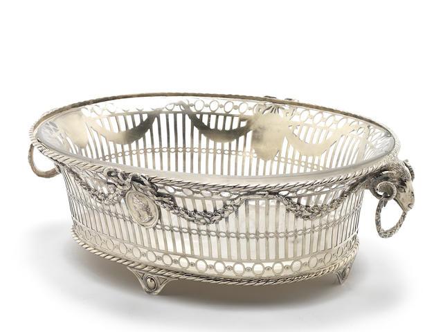 MILITARY INTEREST: A Victorian Britannia standard silver-gilt two-handled basket by Carrington & Co, London 1899