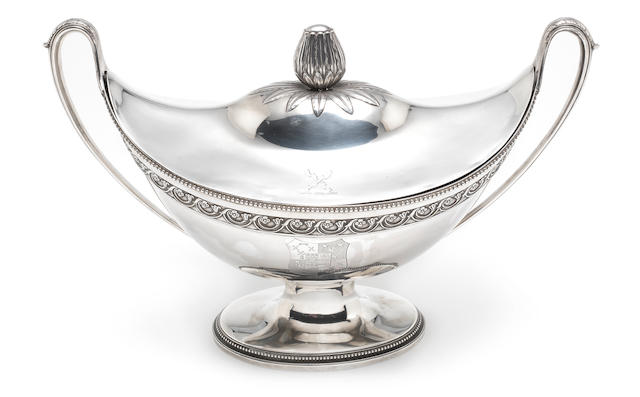 An impressive George III silver soup tureen and cover by Fogelberg & Gilbert, London 1785