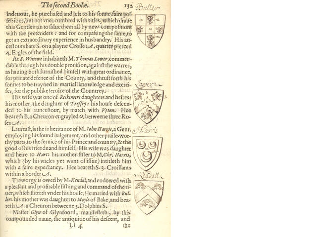 CORNWALL CAREW (RICHARD) The Survey of Cornwall, 78 marginal armorial illustrations in pen and ink on 42 pages, 1602