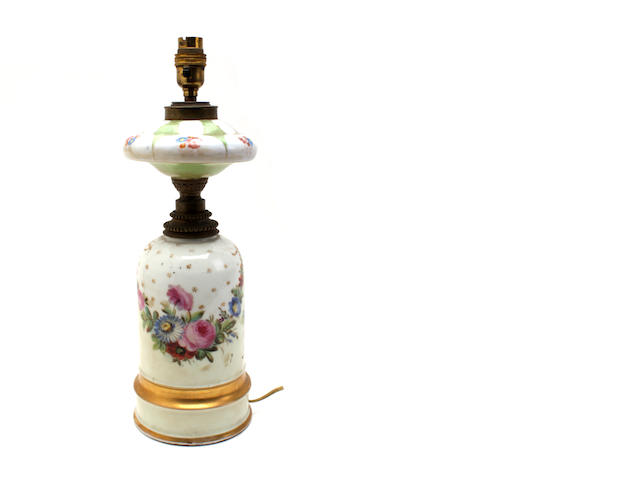 A painted opaline glass table lamp