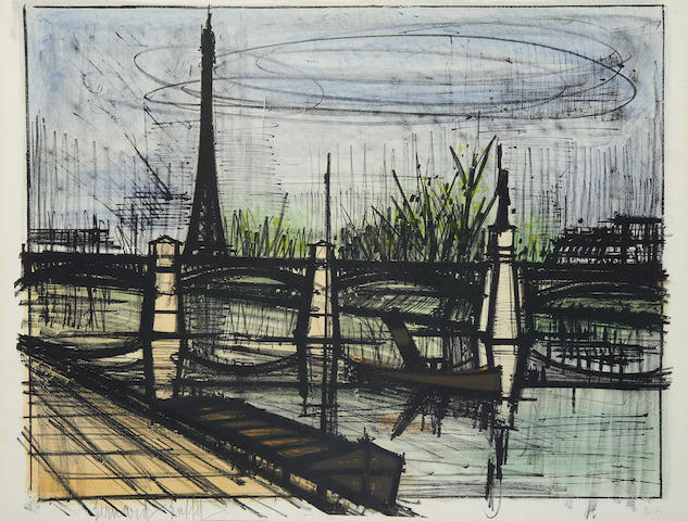 Bernard Buffet (French, 1928-1999) Le Point du Jour, from Album Paris Lithograph printed in colours, 1962, on velin Rives, signed and numbered / 150 in pencil.   550 x 730mm check dimensions