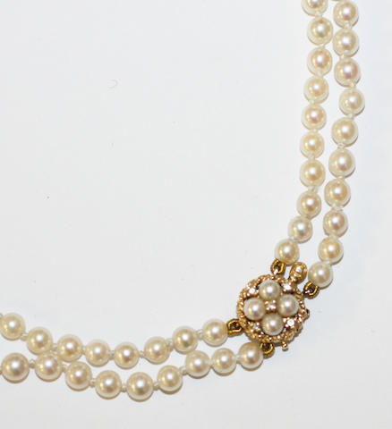A two row cultured pearl necklace,