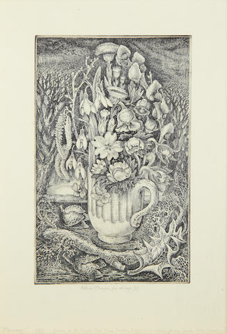 Robin Tanner (British, 1904-1988) February Etching, 1975, on watermarked laid, signed and inscribed 'fet. et imp.' in pencil, titled, dated and dedicated 'for my friend Cecil Crouch' in pencil, printed at Old Chapel Field Press, Wiltshire, there was no published edition until 1984, (Garton & Cooke ed.25), with margins, 260 x 163mm (10 1/4 x 6 1/2in)(PL)