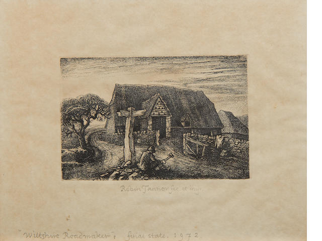 Robin Tanner (British, 1904-1988) Wiltshire Roadmaker Etching, 1928, PAPER?, signed and  inscribed 'fec. et imp.' in pencil,  Nicholson 28 50, Peen Print Room 74 50, Garton & Cooke, 84 12 100 x 150mm (3 7/8 x 5 7/8in)(PL);  together with another by the same hand, 'January', 1984, signed, dated and isncribed 'fet. et imp.' in pencil, from the edition of 25,  146 x 133mm (5 3/4 x 5 1/4in)(PL)(2)  MARGINS?