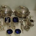 A pair of Victorian circular electroplate butter dishes, with pierced domed covers and sides, reclining cow finials and mask ring side handles, on claw feet, frosted glass liner, 20cm across, and the following electroplate coffee and hot milk pots, bachelor coffee set, nine various condiments various spoons, candle snuffer and tea strainer.