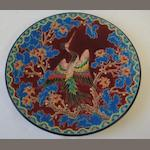 A Longway 'Bel Oiseau' dish, after a design by M I Chervallier, limited edition 59/75, 37cm.