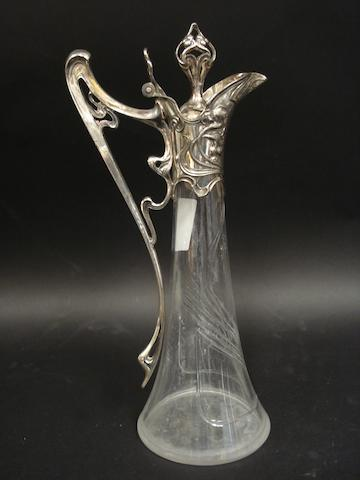Wurttmbergische Metallwaren Fabrik: An Art Nouveau electroplated and glass decanter model 418/6, B, pre 1909 makers mark, 1/0, as