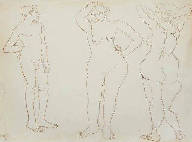 Henri Gaudier-Brzeska (French 1891-1915) Three Standing Nudes