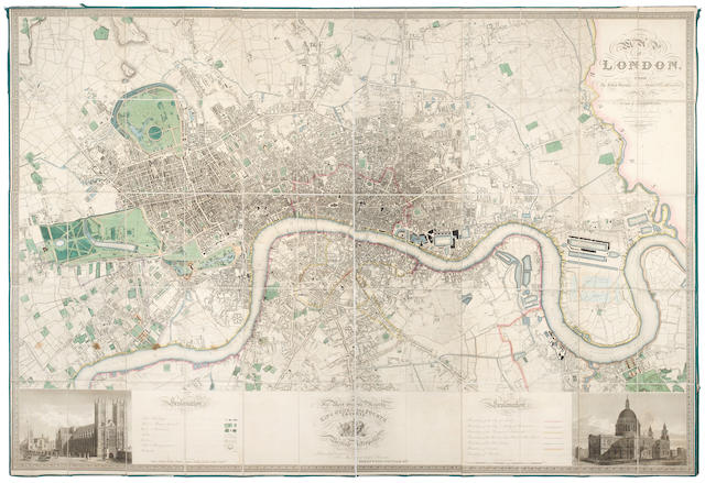 LONDON GREENWOOD (CHARLES & JOHN) Map of London from an actual Survey