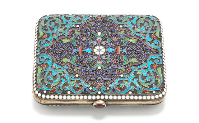 A late 19th century Russian enamelled silver cigarette case