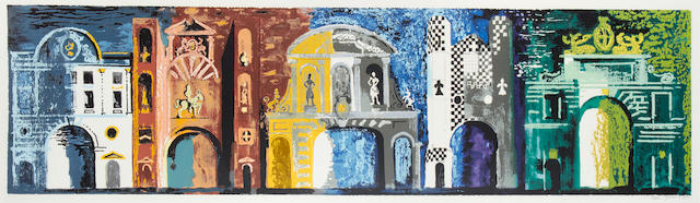 John Piper C.H. (British, 1903-1992) Five Gates of London screenprint in colours, 1978, signed and numbered 16/100 in pencil, printed by Kelpra Studio, London, published by Sedgwick Forbes, 420 x 1599mm (16 1/2 x 63in)(I)