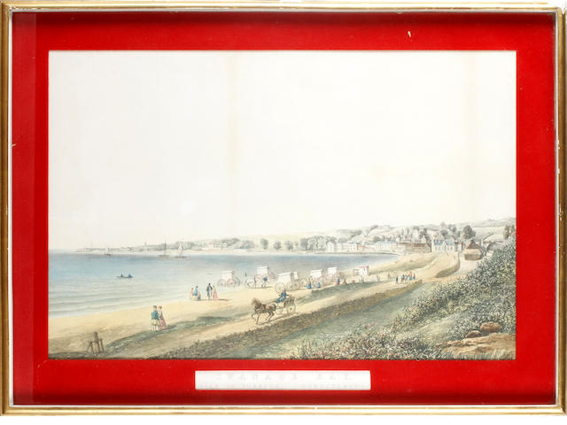 Vincent Brooks (British, 1814-1885) Swanage Bay hand coloured lithograph, c. 1869, printed by Day & Son Lithographers, 350 x 540mm (13 3/4 x 21 1/4in)(PL)