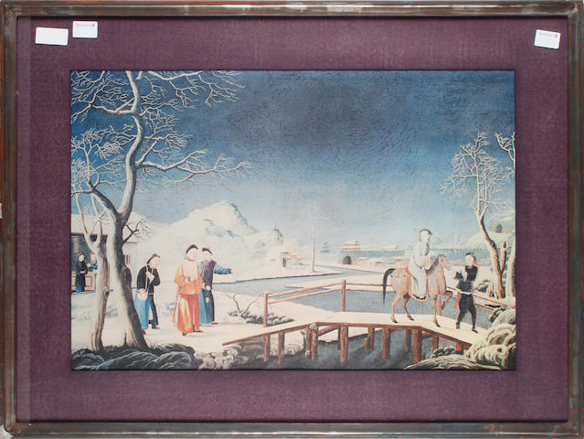 A reproduction colour print of a Chinese school painting Winter landscape with figures colour reproduction, 468 x 690mm (18 1/2 x 27in)(I)