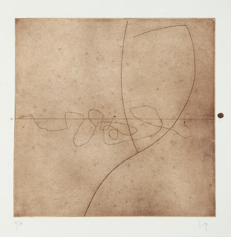 Victor Pasmore RA (British, 1908-1998) Metamorphosis (Linear motifs) Etching with aquatint, 1976, on wove, signed inscribed 'A/P' in pencil, an artist's proof aside from the numbered edition of 55, together 'Cave of Calypso II' (L & B 60), etching, signed and inscribed 'A/P' in pencil, an artist's proof aside from the numbered edition of 60, printed by White Ink Ltd., London, published by Marlborough Graphics, 400 x 400mm (15 3/4 x 15 3/4in)(PL)(and smaller)(2)