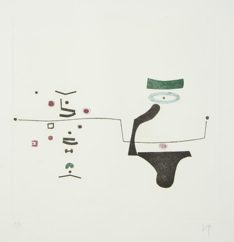 Victor Pasmore RA (British, 1908-1998) The Plough and the Stars Etching printed in colours, 1974, on wove, signed and inscribed 'A/P' in pencil, an artist's proof aside from the numbered edition of 60, printed by White Ink, Ltd, London, published by Marlborough Graphics, 375 x 375mm (14 3/4 x 14 3/4in); together with 'Points of Contact -Linear Developments' (T.&H.19), screenprint, 1970, signed and inscribed 'A/P' in pencil, an artist's proof aside from the numbered edition of 60, printed by Kelpra Studio, London, published by Marlborough Graphics, 418 x 418mm (16 1/2 x 16 1/2in)(PL)(2)