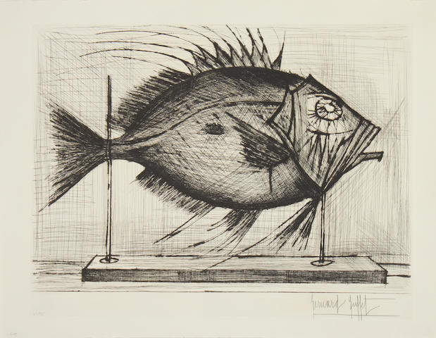Bernard Buffet (French, 1928-1999) Poisson (Fish) Drypoint engraving, 1962, on BFK Rives paper, signed and numbered 50/75 in pencil, printed by Frélaut et Lacourière, published by Editions Lacourière, 490 x 635mm (19 1/4 x 25in)(PL) unframed