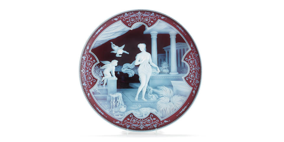 The Attack: an important cameo glass plaque by Thomas and George Woodall, completed in 1896