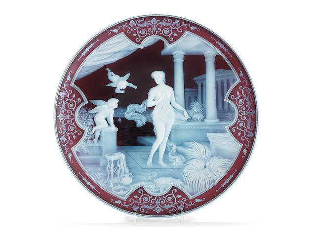 The Attack: an important cameo glass plaque by Thomas and George Woodall