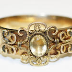 A citrine hinged bangle,