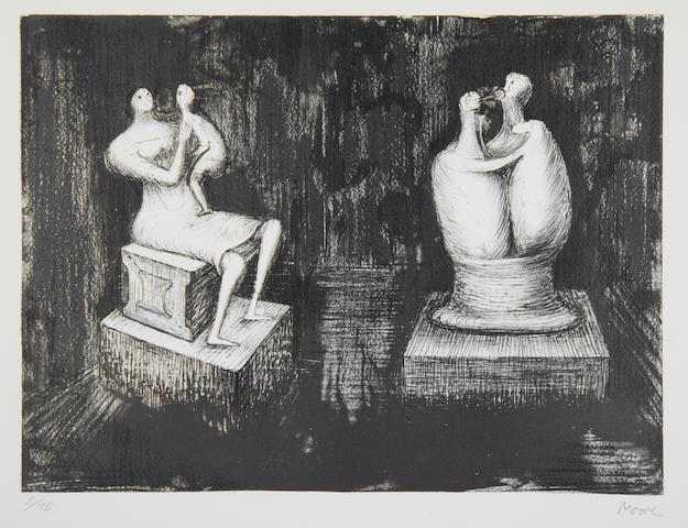 Henry Moore O.M., C.H. (British, 1898-1986) Sculptures, Dark Interior Lithograph, 1974, on wove, signed and numbered 5/75 in pencil, printed and published by Curwen Prints Ltd, Chilford, with margins, 430 x 520mm (17 x 20 1/2in)(SH)(unframed)