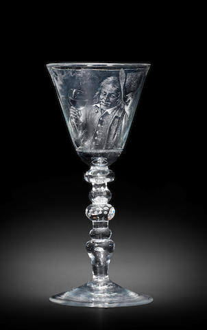 A fine Dutch stipple-engraved light-baluster portrait goblet by Aart Schouman, dated 1743